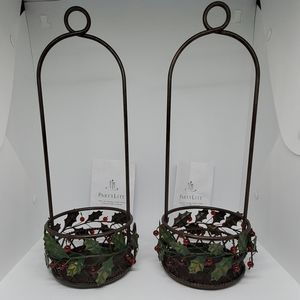 Partylite Holly Lites Hanging Candle Holder Pair